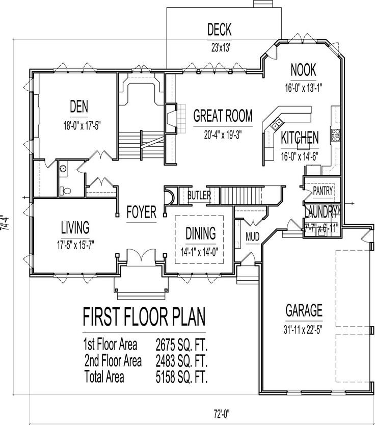 5 Bedroom 2 Story 5000 Sq Ft House Floor Plans Stone And