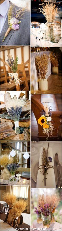 rustic country fall wheat wedding ideas / http://www.deerpearlflowers.com/wheat-wedding-decor-ideas/