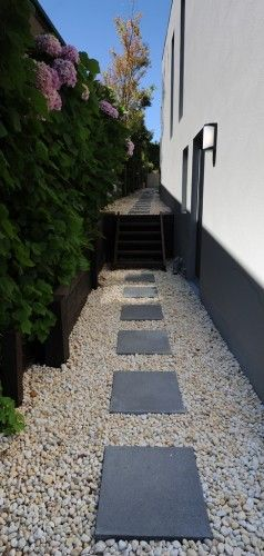 Modern garden path. Perfect for that strip between the wall and border.