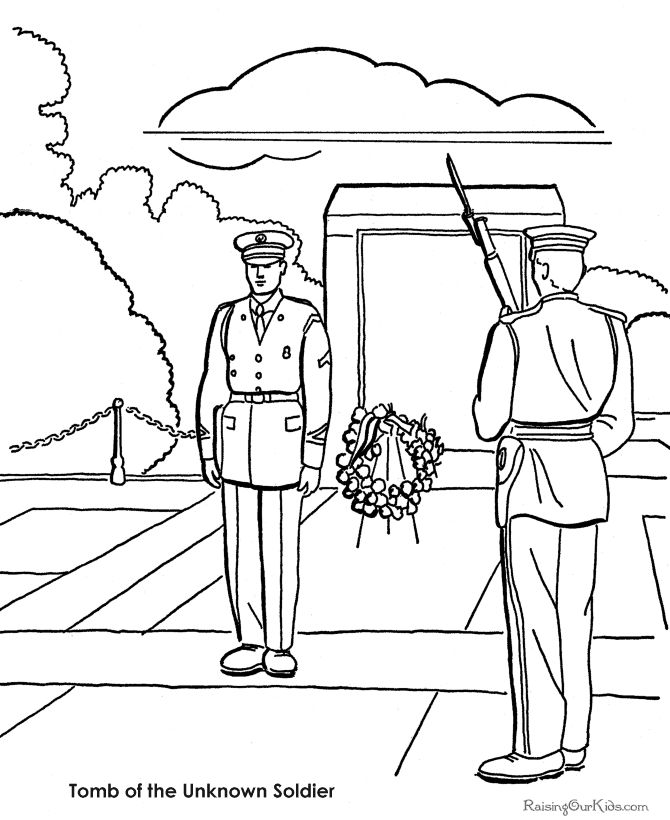 Memorial Day coloring pages - Many sheets and pictures to color.