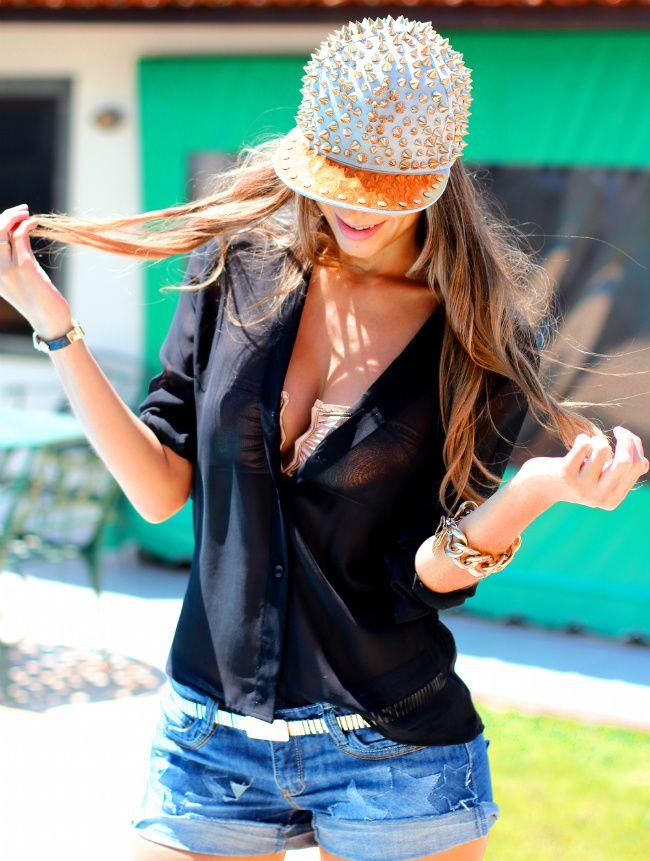 Vanessa nero jeans Look do dia: Boné Feminino |super cute outfit