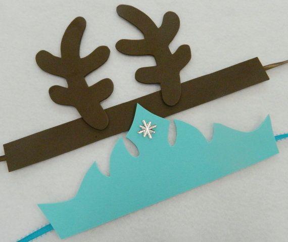 Sets of 6, 8, or 10 - Frozen Sven Reindeer Antlers Headbands & Frozen Elsa Tiaras Party Favors