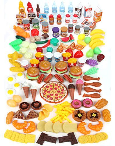 Play Food Set for Kids – Huge 202 Piece Pretend Food Toys is Perfect for Kitchen Sets and Play Food Kitchen Toys – Inspire your Toddlers Imagination + 4 Bonus Water Bottles