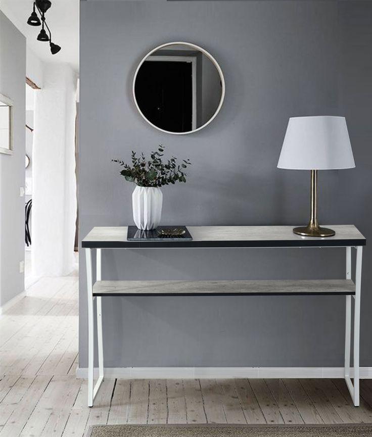 Console rectangulaire design m tal et bois coloris blanc for Console de salon