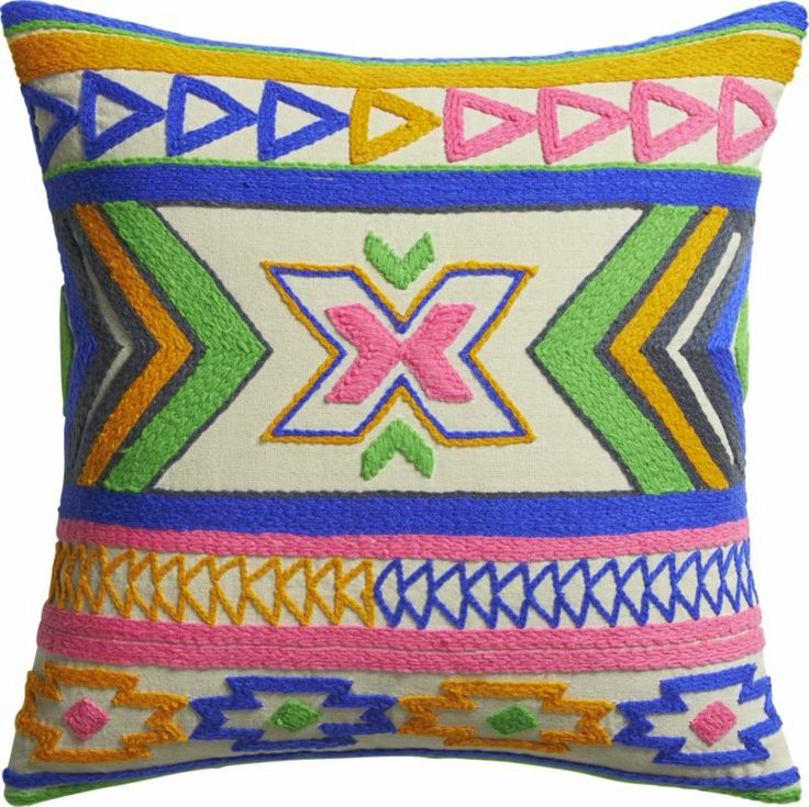 Kilim Embroidery 16 Quot Pillow With Down Alternative Insert