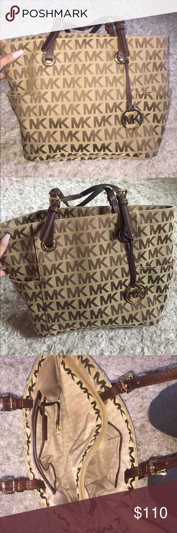 Michael Kors Jet Set Signature Logo Tote Brown/Beige lightly used and recently purchased Michael Kors Bags Totes