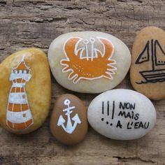 Lots de galets de plage peint à la main / crabe / phare / ancre marine / bateau pour décoration esprit bord de mer