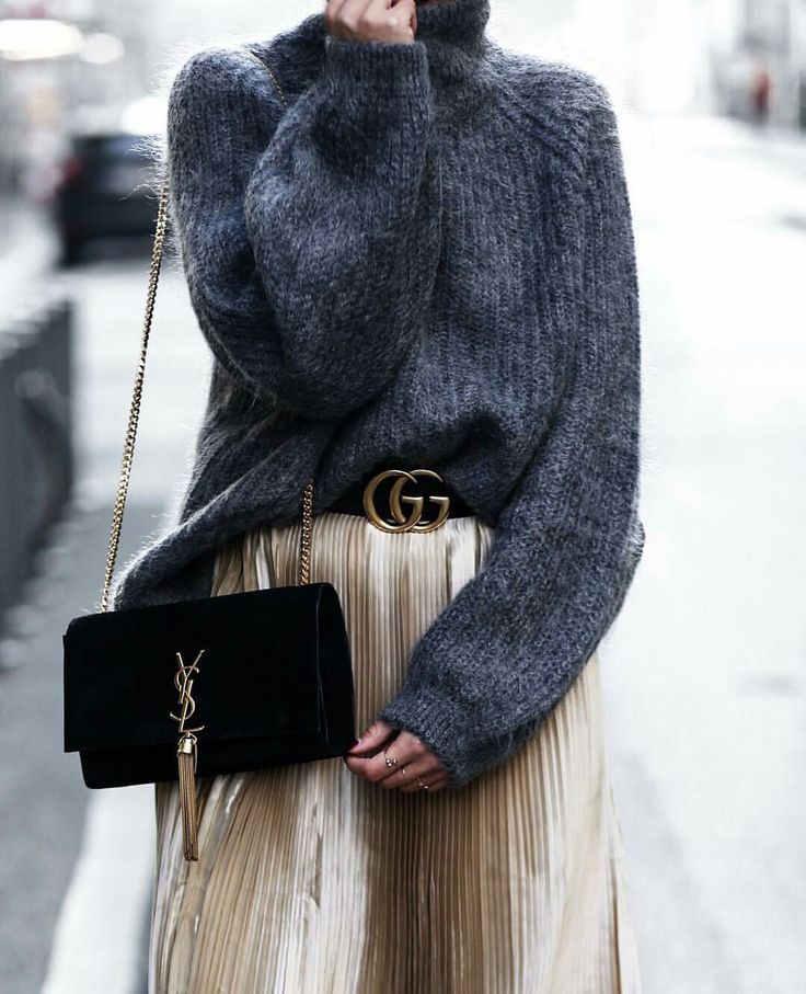 Grey sweater pleated gold skirt