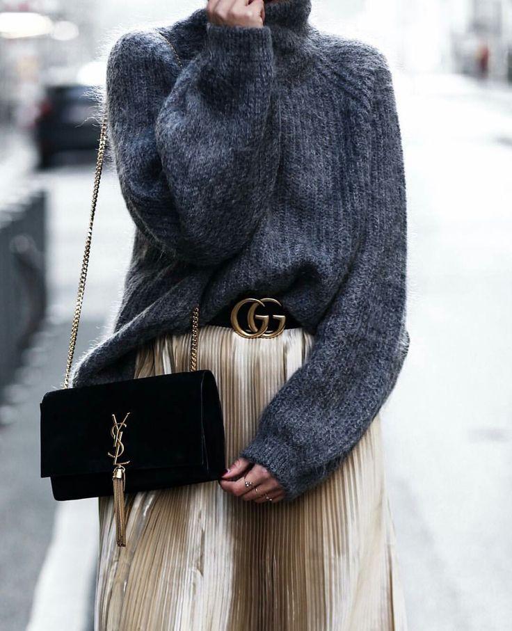Falda dorada + jersey lana