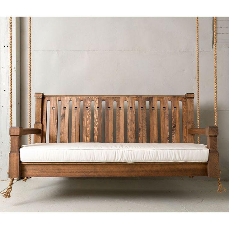 nostalgic craftsman red cedar outdoor sofa swing wooden - Wooden Porch Swings