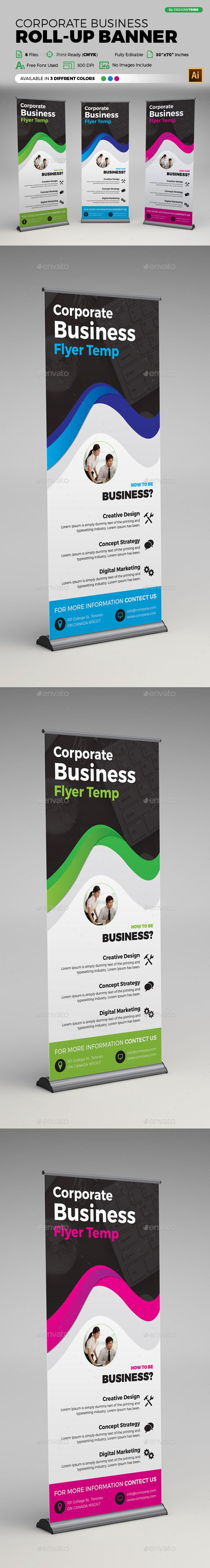 Corporate Business Roll-up Banner Template Vector EPS, AI