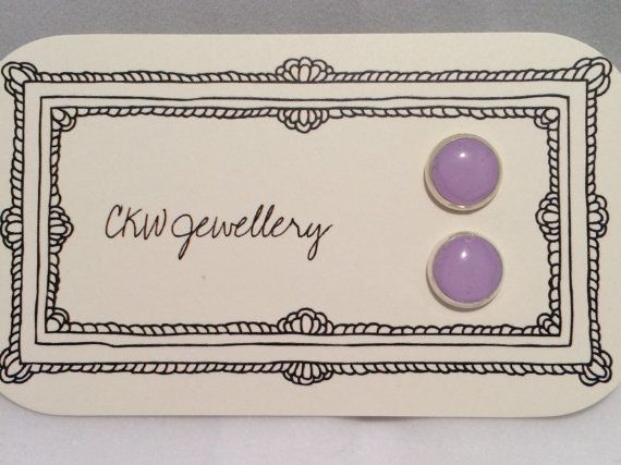 Pastel Purple Silver Framed Polymer Clay Stud by CKWJewellery