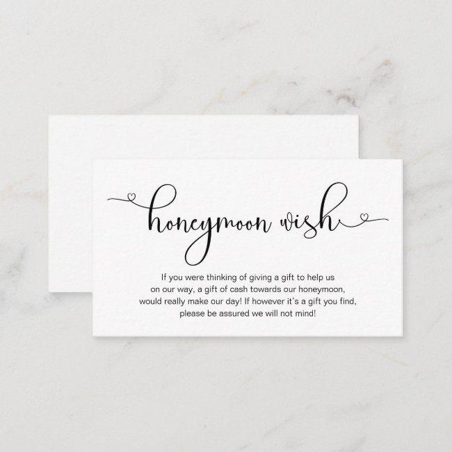 Modern Romantic Black Font Wedding Honeymoon Wish Enclosure Card Zazzle Com Honeymoon Wish Lettering Design Lettering