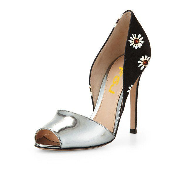 Women's Style Pumps Fall Outfits 2017 Fall Fashion Trends 2017 Halloween 2017 Costumes Outfits Fall Family Picture  Silver and Black Peep Toe Heels Floral Stiletto Heel Double D'orsay Pumps  for Work, Date | FSJ