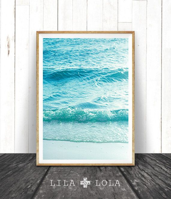 beach photography printable wall art modern coastal large poster blue and aqua ocean waves beach photo beach decor instant download