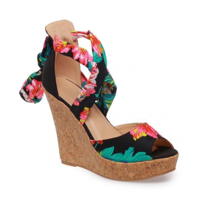 Sandales compensées à lacets fleuris noir