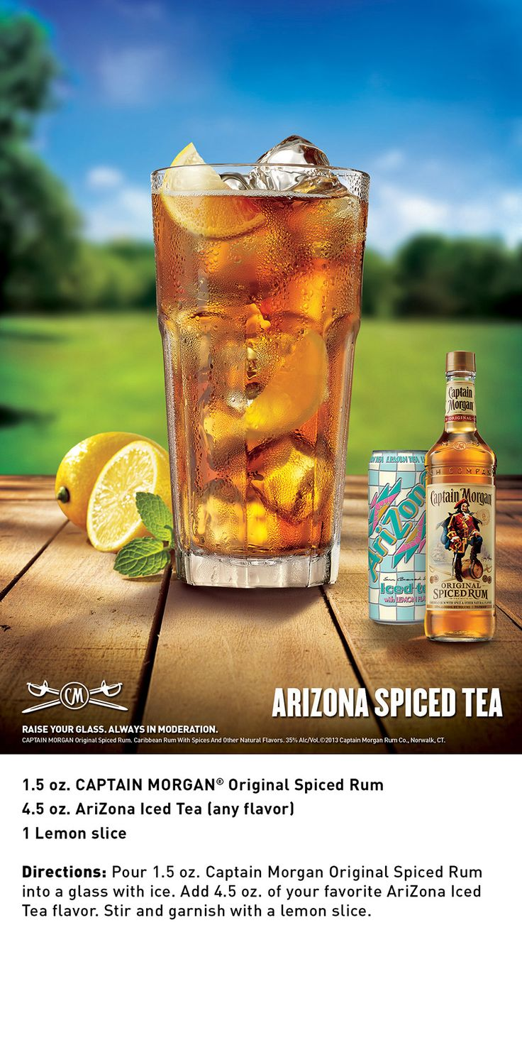 AriZona Spiced Tea is a combination of Captain Morgan Original Spiced Rum and your favorite AriZona Iced Tea.  Simple and delicious!