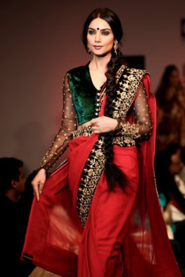 Shyamal & Bhumika bridal collection. Def an valima outfit when I can finally wear a sari. Green velvet ftw