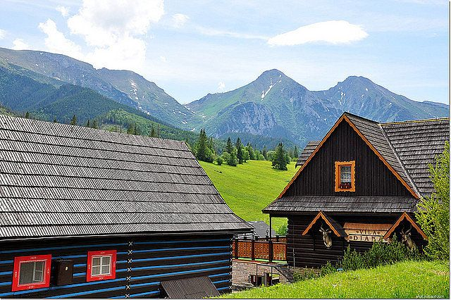 """Zdiar is a small mountain village against the backdrop of the High Tatras mountain, also known as Slovakia's """"most beautiful mountain.""""  Source: Flickr user nayukim"""