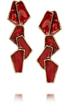 Oscar de la Renta Gold-plated resin earrings | THE OUTNET
