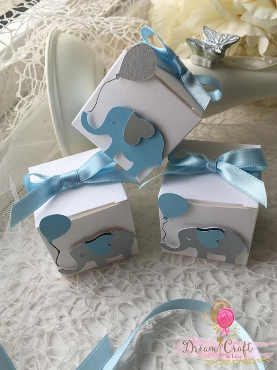 Elephant Baby Shower Favor Boxes Blue And Grey Elephant Gift