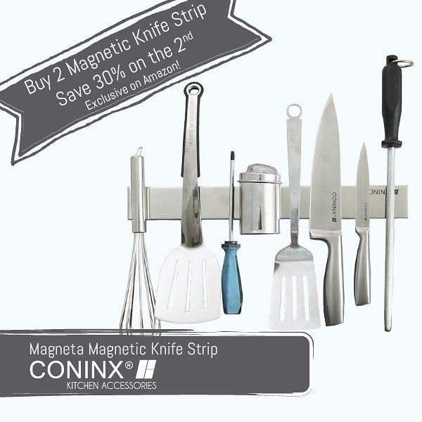Say goodbye to your clunky old knife blocks and clear your counters with the Coninx Magnetic Knife Strip. Grab your discount now on http://amzn.to/2tcCS4x #magnetic #knifestrip #knifeholder #kitchenaccessories #kitchen#kitchendetails #kitchendesign #kitchentools #amazon #coninx #knifeblock #instafollow#likeforlike #follow #knifestorage #knife #kitchenknives #design #bamboo #wood #keuken #keukenaccessoires #keukendetails #keukendesign #messenhouder #messenblok #messen #keukenmes #kitchenknife