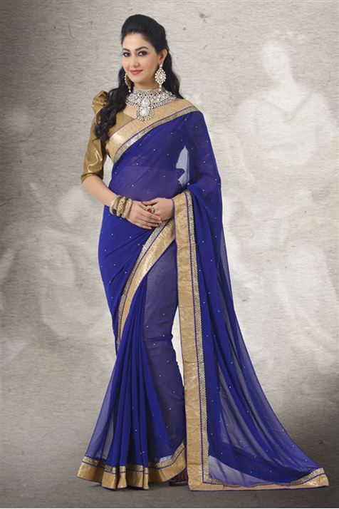 Vivacious Blue, Golden Georgette Saree