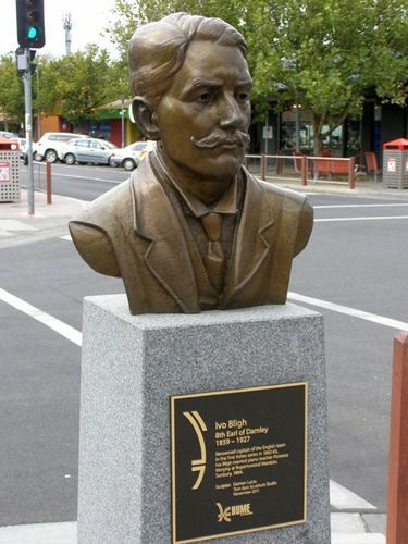 Ivo Bligh, Sunbury Victoria, sculpted by Damien Lucas, Tom Bass Sculpture Studio, 2011. Four cricketers' busts celebrate and acknowledge Sunbury's historical role as The Birthplace of 'The Ashes'. Sunbury is the site where a tiny terracotta urn, believed to be a perfume bottle bought by Lady Janet Clarke at an Egyptian bazaar, was presented to Ivo Bligh, the captain of the English touring team of 1882-83.