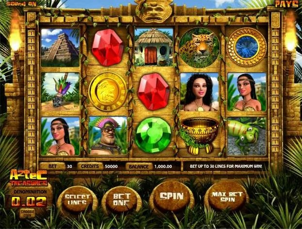 Play the Aztec Treasures video slots game for free or wager real money at 1onlinecasino.com