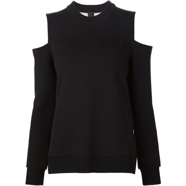 Vera Wang cold shoulder jumper (2,860 BAM) ❤ liked on Polyvore featuring tops, sweaters, black, open shoulder sweater, cold shoulder tops, cutout shoulder sweater, side slit sweater and side slit top