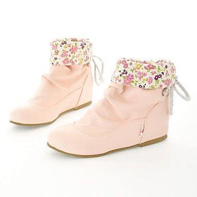 Kozačky+-+Koženka+-+Bootie+/+Módní+boty+-+Dámská+obuv+-+Černá+/+Žlutá+/+Béžová+-+Běžné+-+Plochá+podrážka+–+USD+$+22.39
