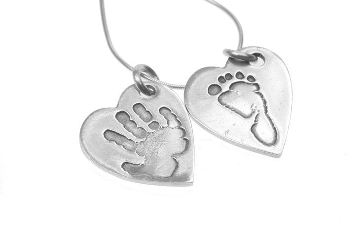 High Five and Little Kicker Heart Pendants on Snake Chain by Smallprint. www.smallprint.co.za