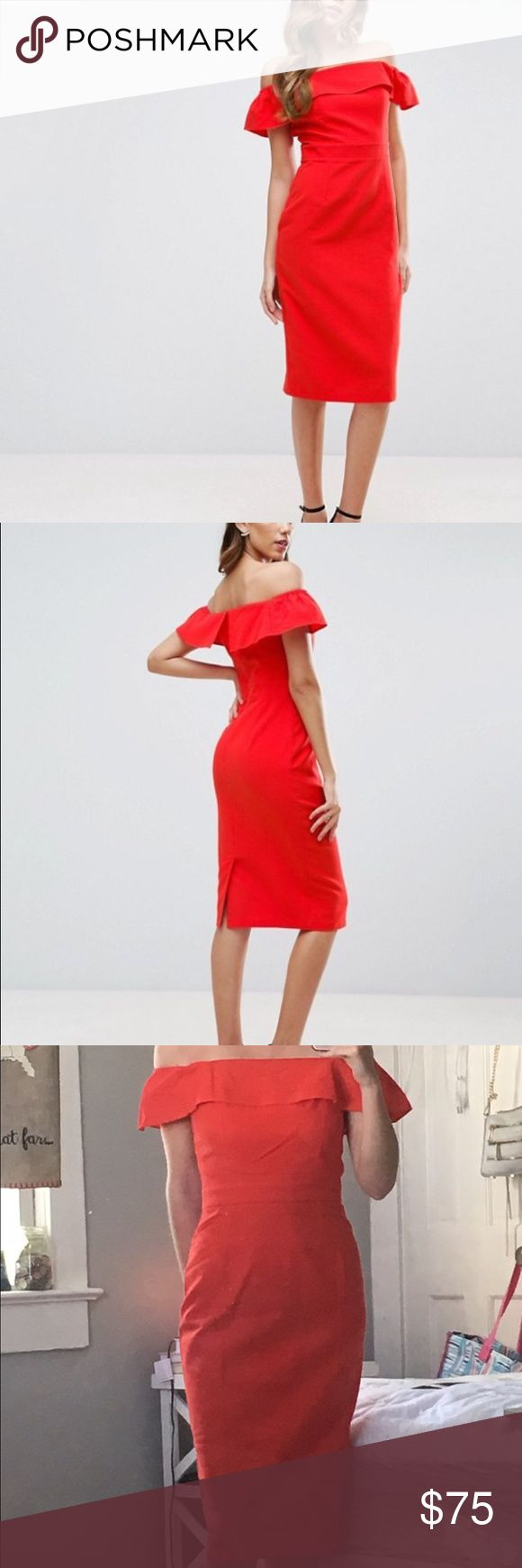 Red Bardot midi dress Brand new! (Dress being sold is not the one in try on picture) Just received the wrong size and have no use for it. Tags attached and has been sitting in a bag. Runs true to size-I am a regular size 2 and the fit in my size is perfect. Great for wedding season! ASOS Dresses Midi
