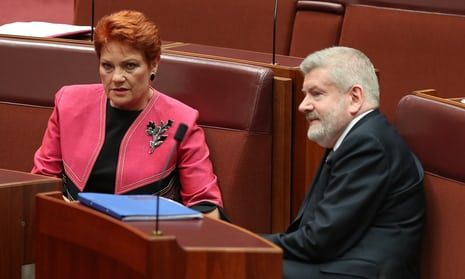 Senator Pauline Hanson talks to communications minister Mitch Fifield