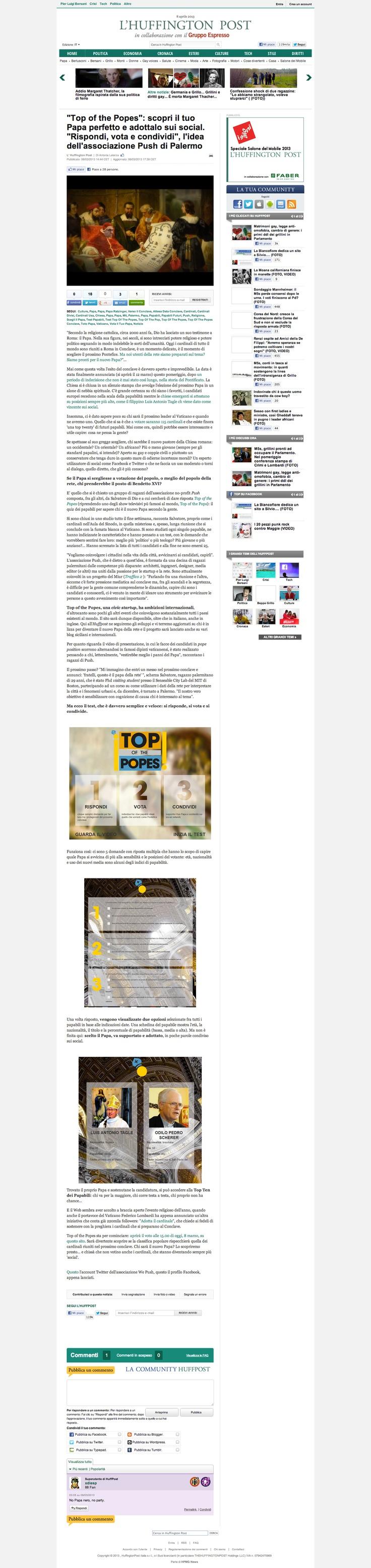 Article appeared on the Huffington Post Italy (8 march '13) [http://www.huffingtonpost.it/2013/03/08/top-of-the-popes-scopri-il-tuo-papa-perfetto-e-adottalo-sui-social-rispondi-vota-e-condividi-lidea-dellassociazione-push-di-palermo_n_2835394.html]