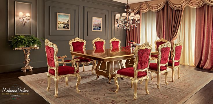 Solid-wood-one-piece-dining-table-classic-style-Villa-Venezia-collection-Modenese-Gastone.jpg - Sala da pranzo in noce con tavolo intagliato e decorazioni in foglia oro