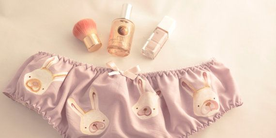 Charming panties with cute hand painted Bunnies!  Crafted with a soft cotton and hand painted with bunnies, these cute panties are absolutely