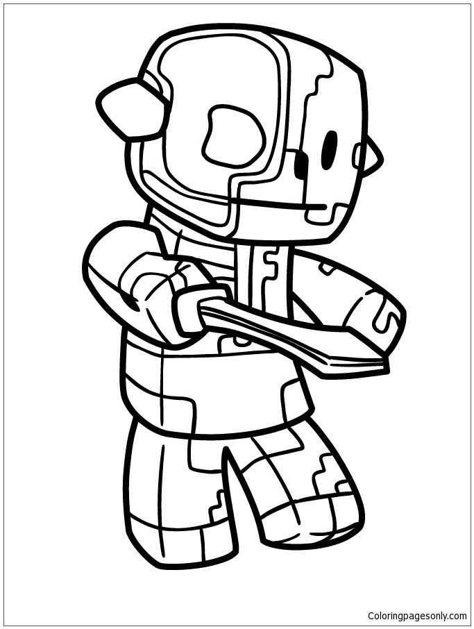 Zombie Pigman From The Nether Coloring Page Minecraft Coloring Pages Cartoon Coloring Pages Detailed Coloring Pages