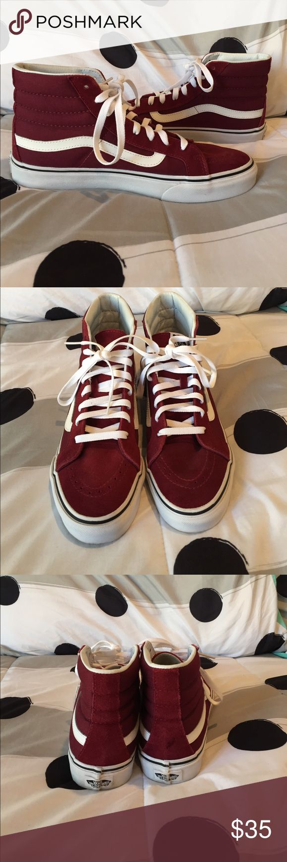 New Maroon hightop vans New maroon and white high top Vans only worn 2 times .  Mens size : 8. Womens size: 9.5 Vans Shoes