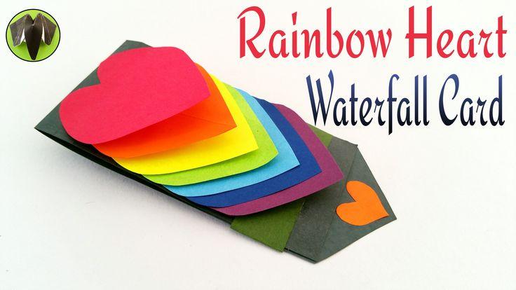 "Craft Tutorial to make Paper ""Rainbow Heart waterfall card""  Greetings  ..."