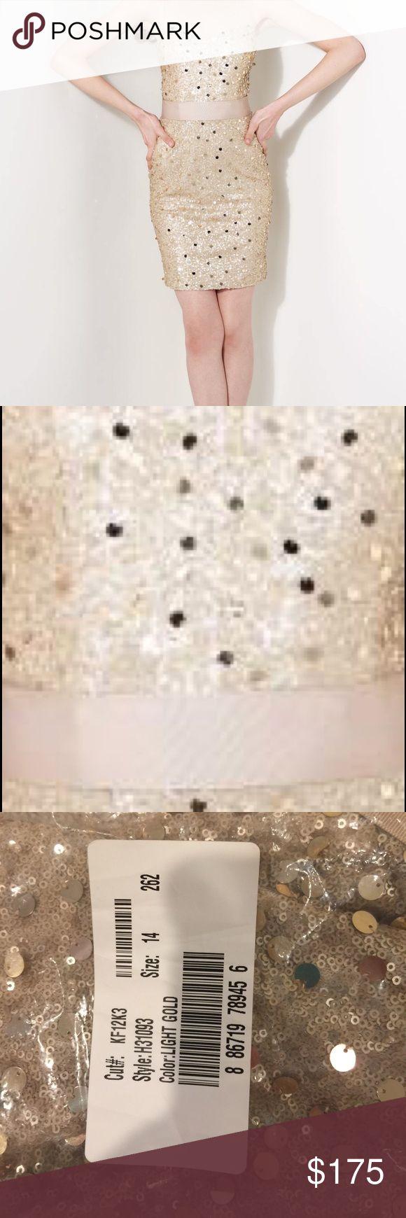 Timeless Kathy Hilton Cocktail Dress Light Gold Kathy Hilton Dress. Size 14. Style #H31093 Kathy Hilton Dresses