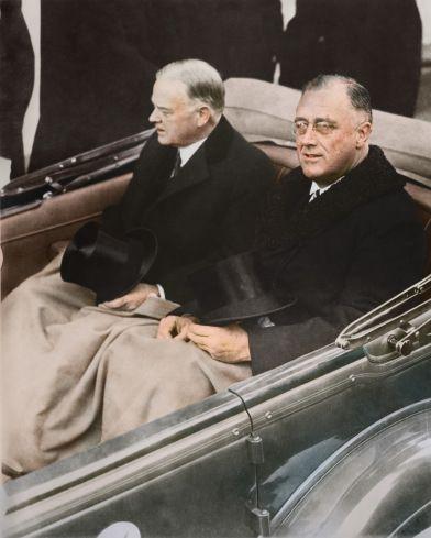 Outgoing President Herbert Hoover (left) Incoming President Franklin D. Roosevelt - 1933