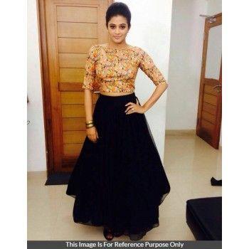 60 Gm Georgette Black Plain Semi Stitched Bollywood Designer Lehenga - T1170