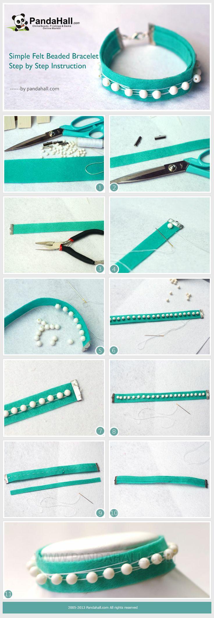 Simple Felt Beaded Bracelet Step by Step Instruction
