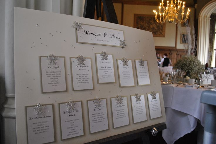 Missouri Table Plan in Soft Gold and Cream finished with crystal snowflakes