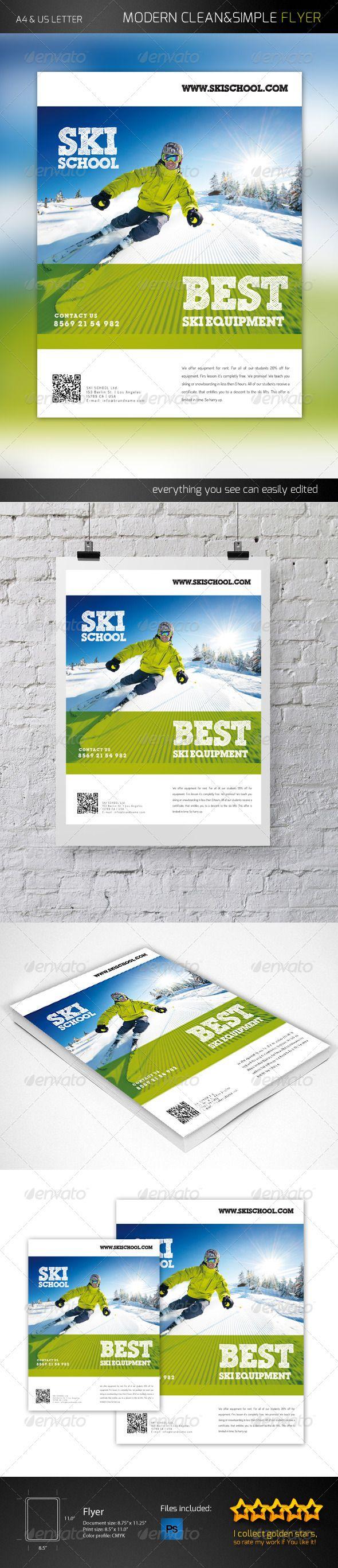 Ski School Flyer Template PSD #design Download: http://graphicriver.net/item/ski-school-flyer/6281683?ref=ksioks
