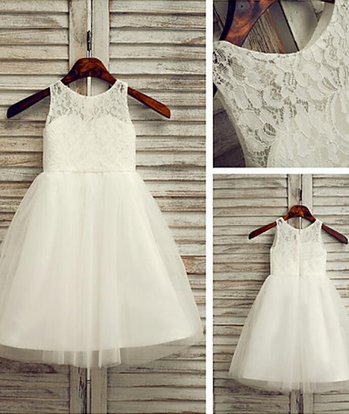 Vintage Wedding Gowns Flower Girl Dress Ankle Length Lace And Tulle A Line Sleeveless Dress White Flower Girl Dresses For Wedding Girls Christening Dresses Gray Flower Girl Dresses From Hellowedding, $41.93| Dhgate.Com