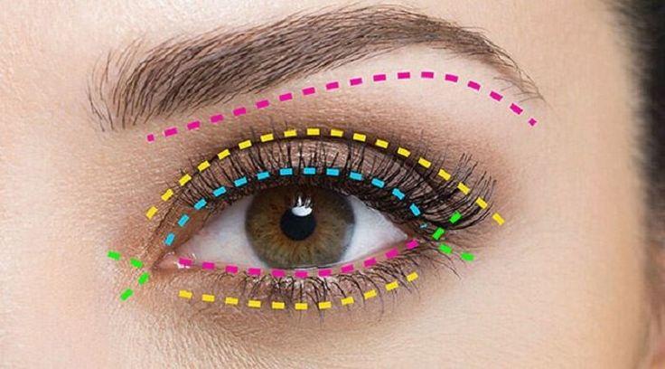 Гид по макияжу глаз Сначала внимательно изучи схему правильного макияжа глаз.А теперь запоминай!Под бровь:На выделенный цветом участок ты можешь наносить перламутровые или матовые тени св