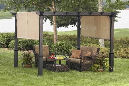 The Garden Treasures Canopy,  designed like a pergola, with horizontal trelliswork and a UV-protective canopy that laps over either end.