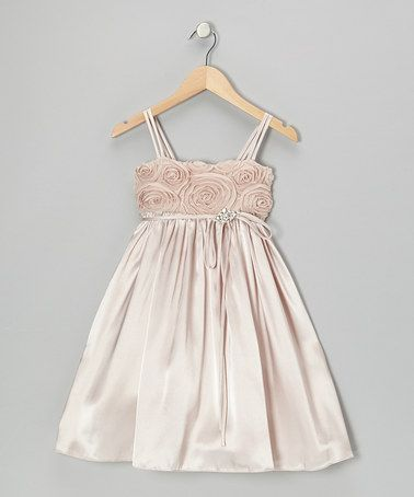 Look what I found on #zulily! Champagne Rosette Satin Babydoll Dress - Toddler & Girls #zulilyfinds